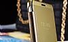 Eiroo Mirror Cover Samsung Galaxy A3 2016 Aynalı Kapaklı Gold Kılıf - Resim 9