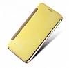 Eiroo Mirror Cover Samsung Galaxy C7 Aynalı Kapaklı Gold Kılıf - Resim 1