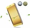 Eiroo Mirror Cover Samsung Galaxy C7 Aynalı Kapaklı Gold Kılıf - Resim 2