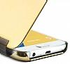 Eiroo Mirror Cover Samsung Galaxy C7 Aynalı Kapaklı Gold Kılıf - Resim 3