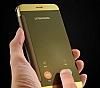 Eiroo Mirror Cover Samsung Galaxy C7 Aynalı Kapaklı Gold Kılıf - Resim 5