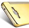 Eiroo Mirror Cover Samsung Galaxy J5 2016 Aynalı Kapaklı Gold Kılıf - Resim 2