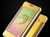 Eiroo Mirror Cover Samsung Galaxy J5 Aynalı Kapaklı Gold Kılıf - Resim 2