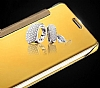 Eiroo Mirror Cover Samsung Galaxy J5 Aynalı Kapaklı Gold Kılıf - Resim 4