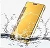 Eiroo Mirror Cover Samsung Galaxy J5 Aynalı Kapaklı Gold Kılıf - Resim 3