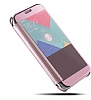 Eiroo Mirror Cover Samsung Galaxy J7 Prime Aynalı Kapaklı Gold Kılıf - Resim 3