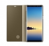 Eiroo Mirror Cover Samsung Galaxy Note 8 Uyku Modlu Aynalı Kapaklı Gold Kılıf - Resim 3