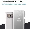Eiroo Mirror Cover Samsung Galaxy S8 Aynalı Kapaklı Gold Kılıf - Resim 3