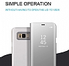 Eiroo Mirror Cover Samsung Galaxy S8 Plus Aynalı Kapaklı Gold Kılıf - Resim 4