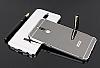 Eiroo Mirror Huawei Mate 10 Lite Metal Kenarlı Aynalı Silver Rubber Kılıf - Resim 1