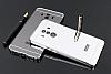 Eiroo Mirror Huawei Mate 10 Pro Metal Kenarlı Aynalı Silver Rubber Kılıf - Resim 2