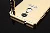 Eiroo Mirror Lenovo K6 Note Metal Kenarlı Aynalı Gold Rubber Kılıf - Resim 4