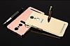 Eiroo Mirror Lenovo K6 Note Metal Kenarlı Aynalı Rose Gold Rubber Kılıf - Resim 4