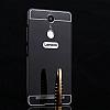 Eiroo Mirror Lenovo K6 Note Metal Kenarlı Aynalı Siyah Rubber Kılıf - Resim 2