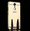 Eiroo Mirror Lenovo K6 Note Metal Kenarlı Aynalı Gold Rubber Kılıf - Resim 3