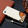 Eiroo Mirror LG Q6 Metal Kenarlı Aynalı Gold Rubber Kılıf - Resim 2