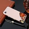 Eiroo Mirror LG Q6 Metal Kenarlı Aynalı Rose Gold Rubber Kılıf - Resim 2