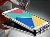 Eiroo Mirror Samsung Galaxy A8 2016 Metal Kenarlı Aynalı Silver Rubber Kılıf - Resim 5