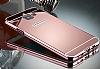 Eiroo Mirror Samsung Galaxy A8 2016 Metal Kenarlı Aynalı Rose Gold Rubber Kılıf - Resim 3