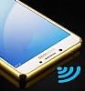 Eiroo Mirror Samsung Galaxy C5 Pro Metal Kenarlı Aynalı Gold Rubber Kılıf - Resim 2