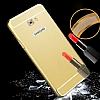 Eiroo Mirror Samsung Galaxy C5 Pro Metal Kenarlı Aynalı Gold Rubber Kılıf - Resim 3