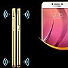Eiroo Mirror Samsung Galaxy C9 Pro Metal Kenarlı Aynalı Rose Gold Rubber Kılıf - Resim 1