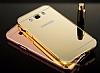 Eiroo Mirror Samsung Galaxy J5 2016 Metal Kenarlı Aynalı Rose Gold Rubber Kılıf - Resim 1