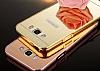 Eiroo Mirror Samsung Galaxy J5 2016 Metal Kenarlı Aynalı Rose Gold Rubber Kılıf - Resim 3