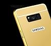 Eiroo Mirror Samsung Galaxy S8 Metal Kenarlı Aynalı Rose Gold Rubber Kılıf - Resim 3