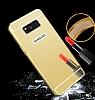 Eiroo Mirror Samsung Galaxy S8 Plus Metal Kenarlı Aynalı Rose Gold Rubber Kılıf - Resim 1