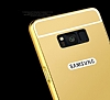 Eiroo Mirror Samsung Galaxy S8 Plus Metal Kenarlı Aynalı Gold Rubber Kılıf - Resim 2
