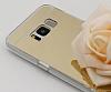 Eiroo Mirror Samsung Galaxy S8 Silikon Kenarlı Aynalı Gold Rubber Kılıf - Resim 1