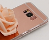 Eiroo Mirror Samsung Galaxy S8 Silikon Kenarlı Aynalı Rose Gold Rubber Kılıf - Resim 1