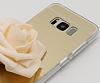 Eiroo Mirror Samsung Galaxy S8 Silikon Kenarlı Aynalı Gold Rubber Kılıf - Resim 2