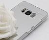 Eiroo Mirror Samsung Galaxy S8 Silikon Kenarlı Aynalı Silver Rubber Kılıf - Resim 1