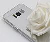 Eiroo Mirror Samsung Galaxy S8 Silikon Kenarlı Aynalı Silver Rubber Kılıf - Resim 4
