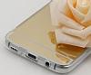 Eiroo Mirror Samsung Galaxy S8 Silikon Kenarlı Aynalı Gold Rubber Kılıf - Resim 3