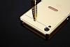 Eiroo Mirror Sony Xperia XA Metal Kenarlı Aynalı Rose Gold Rubber Kılıf - Resim 3