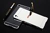 Eiroo Mirror Sony Xperia XA1 Ultra Metal Kenarlı Aynalı Siyah Rubber Kılıf - Resim 4