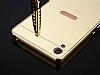 Eiroo Mirror Sony Xperia XA1 Ultra Metal Kenarlı Aynalı Siyah Rubber Kılıf - Resim 2
