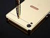 Eiroo Mirror Sony Xperia XA1 Metal Kenarlı Aynalı Gold Rubber Kılıf - Resim 4