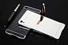 Eiroo Mirror Sony Xperia XA1 Metal Kenarlı Aynalı Siyah Rubber Kılıf - Resim 1