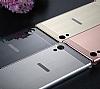 Eiroo Mirror Sony Xperia XZ Premium Metal Kenarlı Aynalı Silver Rubber Kılıf - Resim 1