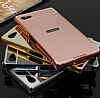 Eiroo Mirror Sony Xperia Z5 Compact Metal Kenarl� Aynal� Rose Gold Rubber K�l�f - Resim: 1