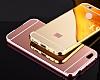 Eiroo Mirror Xiaomi Redmi 4X Metal Kenarlı Aynalı Rose Gold Rubber Kılıf - Resim 4