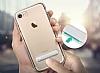 Eiroo Mixx Hybrid iPhone 6 / 6S Standlı Rose Gold Silikon Kılıf - Resim 1