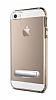 Eiroo Mixx Hybrid iPhone SE / 5 / 5S Gold Kenarlı Standlı Silikon Kılıf - Resim 6
