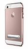 Eiroo Mixx Hybrid iPhone SE / 5 / 5S Rose Gold Kenarlı Standlı Silikon Kılıf - Resim 6