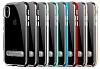 Eiroo Mixx Hybrid iPhone X Siyah Kenarlı Standlı Silikon Kılıf - Resim 5