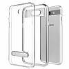 Eiroo Mixx Hybrid Samsung Galaxy J7 Prime Silver Kenarlı Standlı Silikon Kılıf - Resim 4